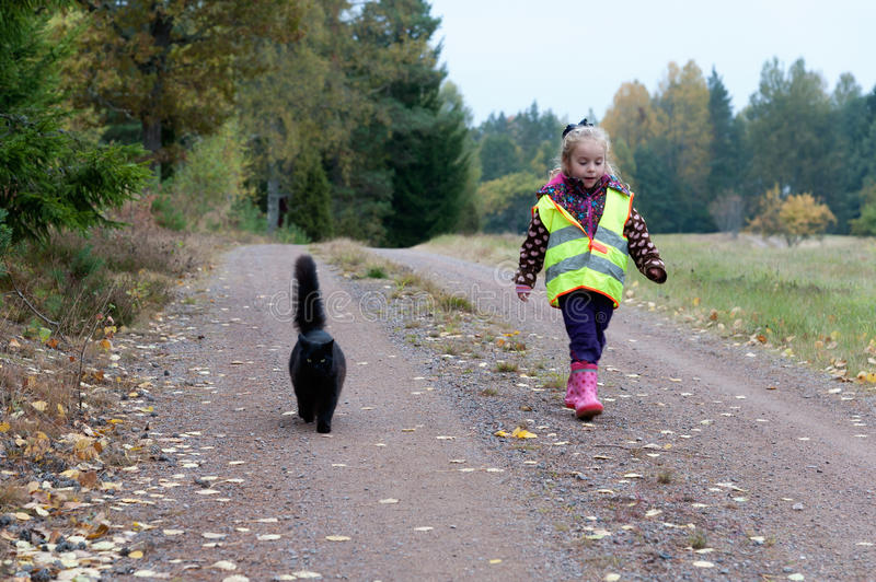 Best friends. A cute little girl an her cat walking along a dirt way in autumnal landscape stock images