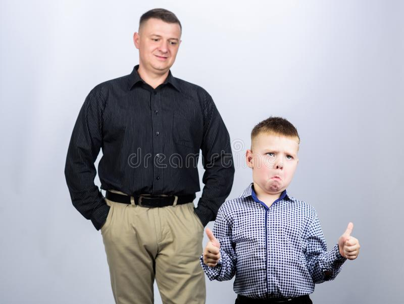 Best friends. Dad and adorable child. Father example of noble human. Family support. Family bonds. Trustful relations. Father and son. Enjoying fatherhood royalty free stock photos
