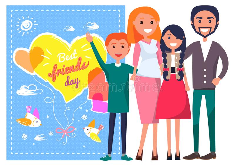 Best Friends Day Template Poster With Family. Stock Vector ...