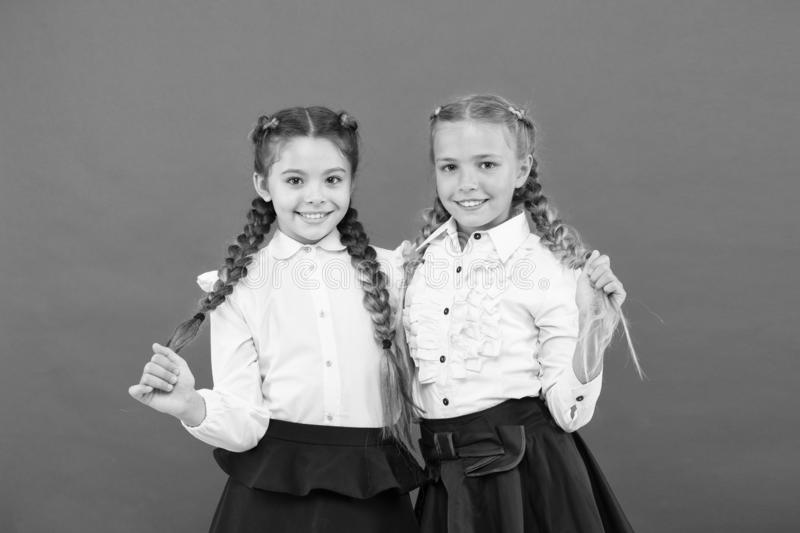 Best friends excellent pupils. Schoolgirls tidy appearance glad to meet you. Meet new friends in school. School royalty free stock image