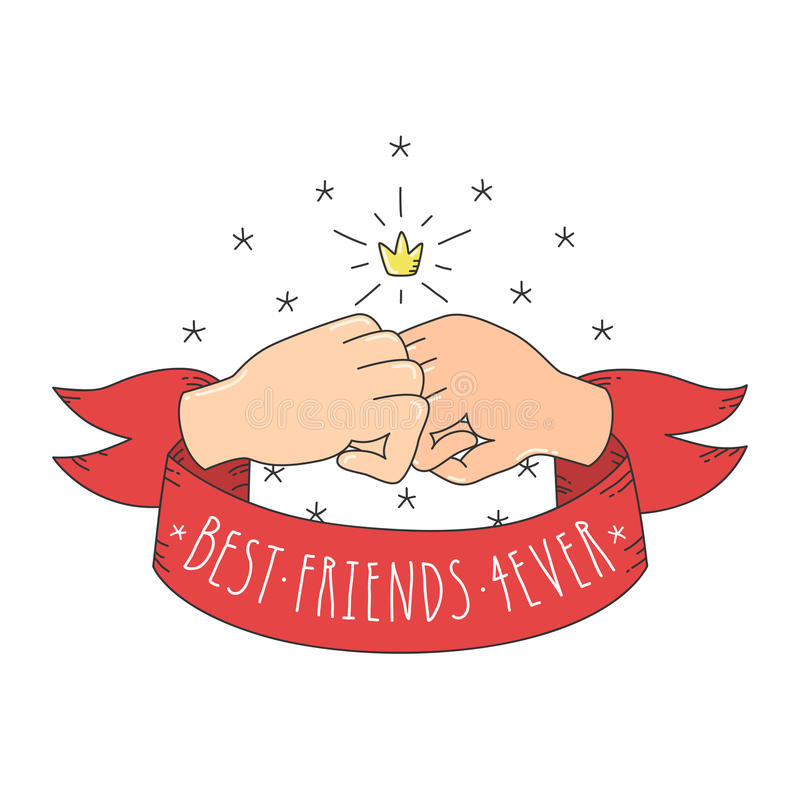 Free Best Friends Forever Cartoon Style Fists With Crown And Red Ribbon. Royalty Free Stock Image - 61061376