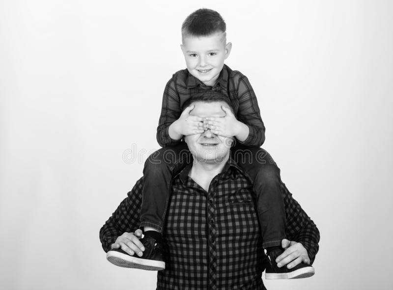 Best friends forever. Dad piggybacking adorable child. Having fun. Happiness being father of boy. Fathers day. Father royalty free stock images