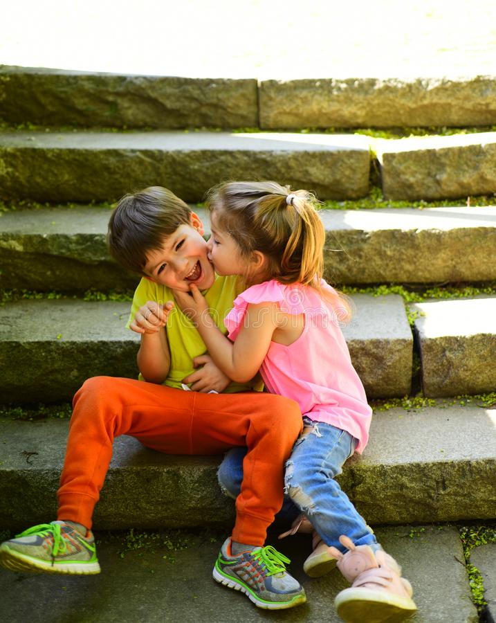 Best Friends, Friendship And Family Values. Childhood First Love. Small  Girl And Boy. Relations. Summer Holiday And Stock Image - Image of beauty,  child: 135693555