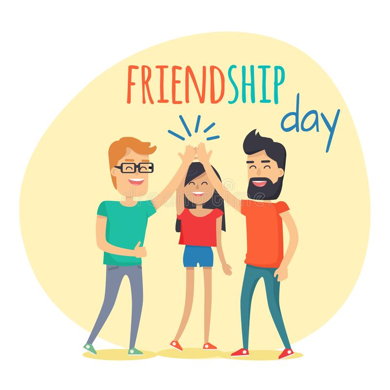 Best Friends Spend Fun Time. Friendship Day Flat royalty free illustration