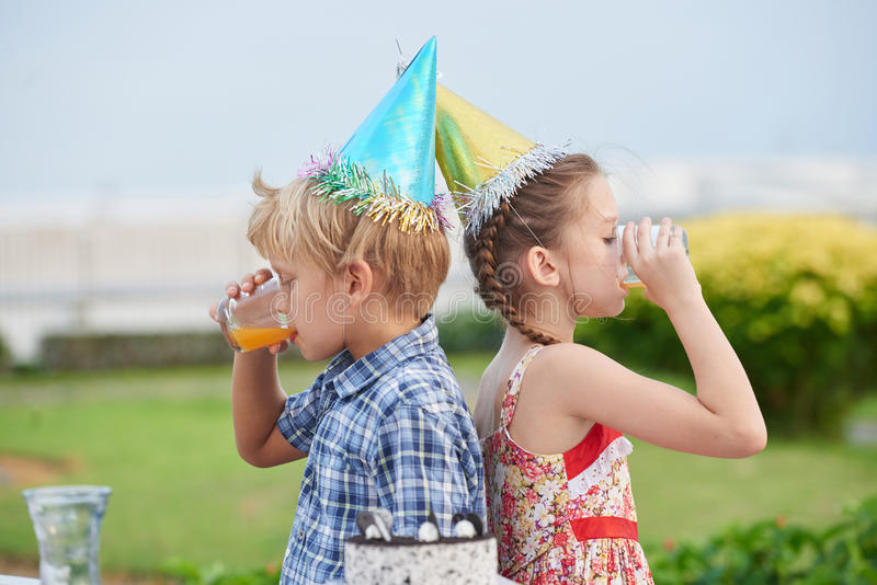 Best Friends at Outdoor Birthday Party stock photography
