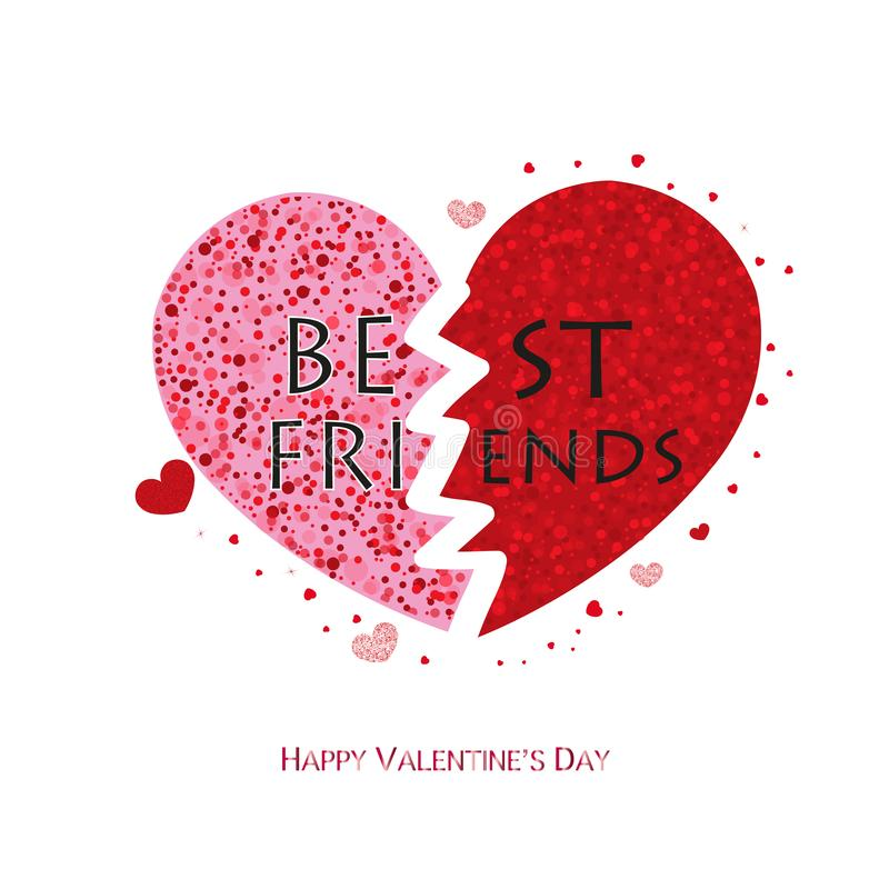 Best friends. Shiny sparkle red hearts. Valentine`s day greeting card stock illustration