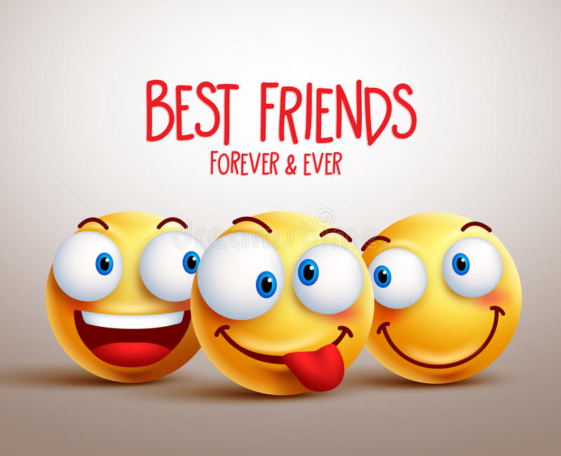 Best friends smiley face vector design concept with funny facial expressions. 3D realistic vector illustration vector illustration