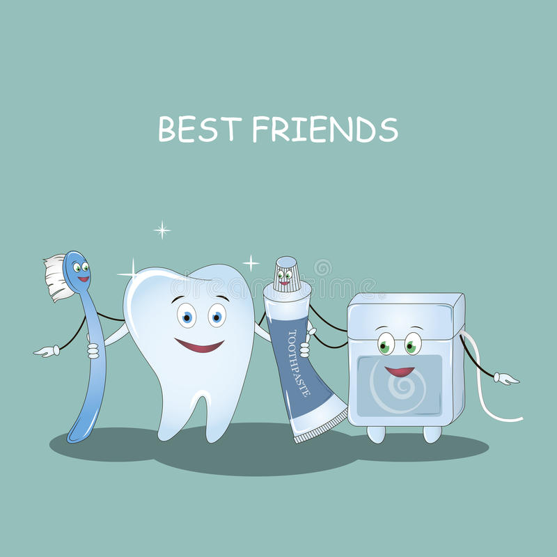 Best Friends teeth. Vector. Illustration for children dentistry and orthodontics. Image toothbrush, tooth paste , den royalty free illustration