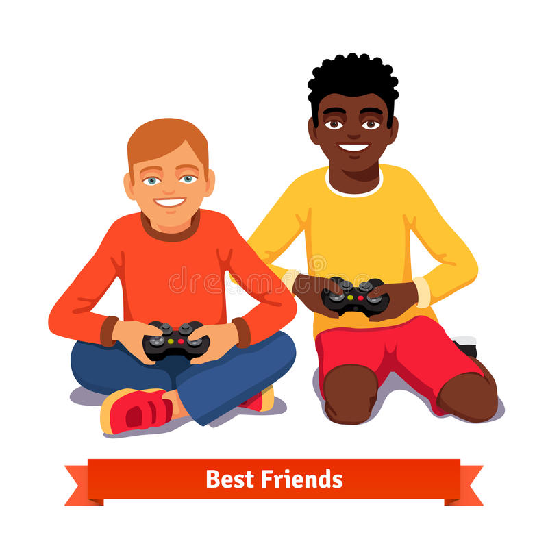 Best friends video gaming together on the floor stock illustration
