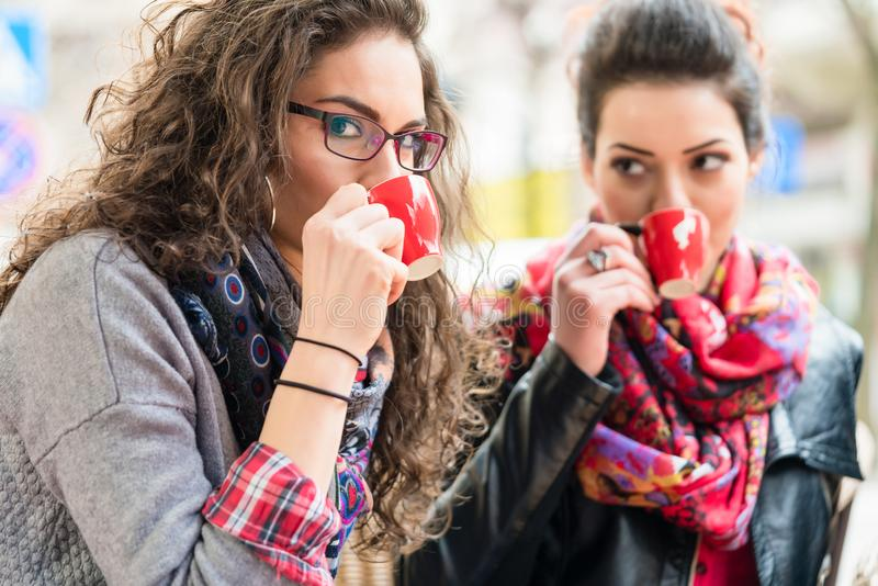 Girl friends drinking coffee together in cafe stock photo