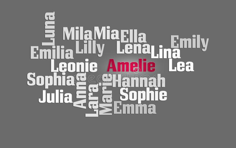 Best German girl names on gray background royalty free stock photo