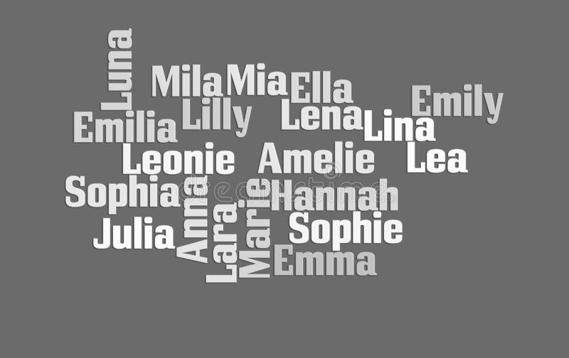 Best German girl names on gray background stock photo