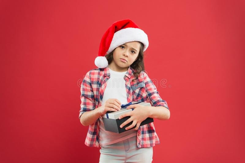 Best gift for xmas. unhappy little girl open present box. happy new year gift. time for christmas holiday presents stock photos