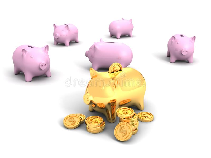 Best Golden Piggy Bank And Money Dollar Coins Royalty Free Stock Image