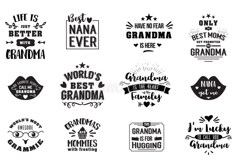 Best grandma handwritten in black. Brush, grandparents day badges, get promoted to grandmother, luckily to call, typographic design logo in calligraphy style royalty free illustration