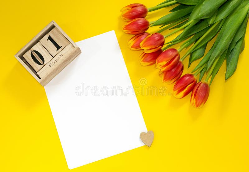 Best greetings for 1 March. Concept of greeting card with bouquet of red tulip buttons, wooden cubic calendar, heart and sheet of royalty free stock image