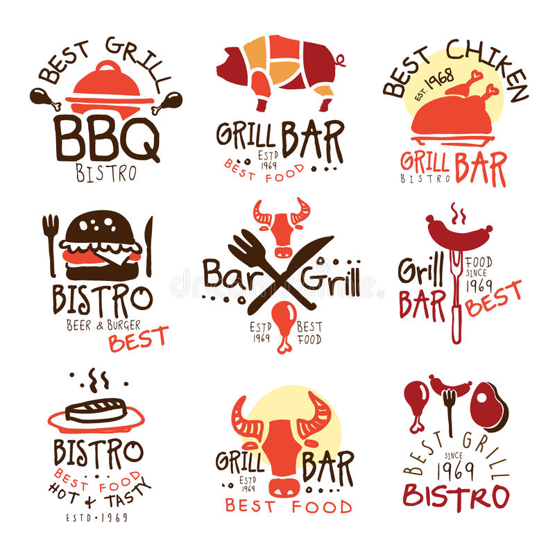 Best Grill Bar Promo Signs Set Of Colorful Vector Design Templates With Food Silhouettes. Meat Gastronomy Restaurant Labels In Flat Bright Illustrations With stock illustration
