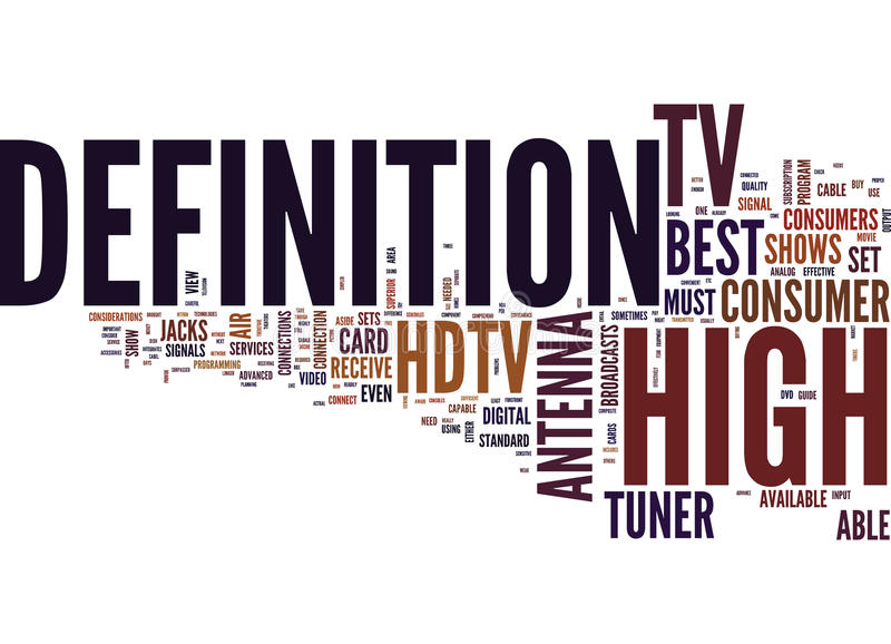 Best Hdtv Word Cloud Concept. Best Hdtv Text Background Word Cloud Concept royalty free illustration
