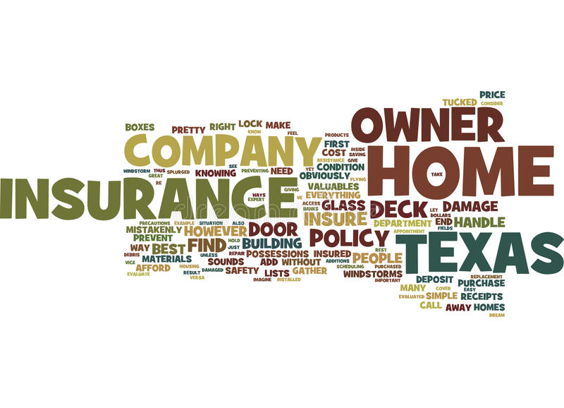 Best Home Owner Insurance Company in Texas Text Background Word Cloud-Konzept stock abbildung