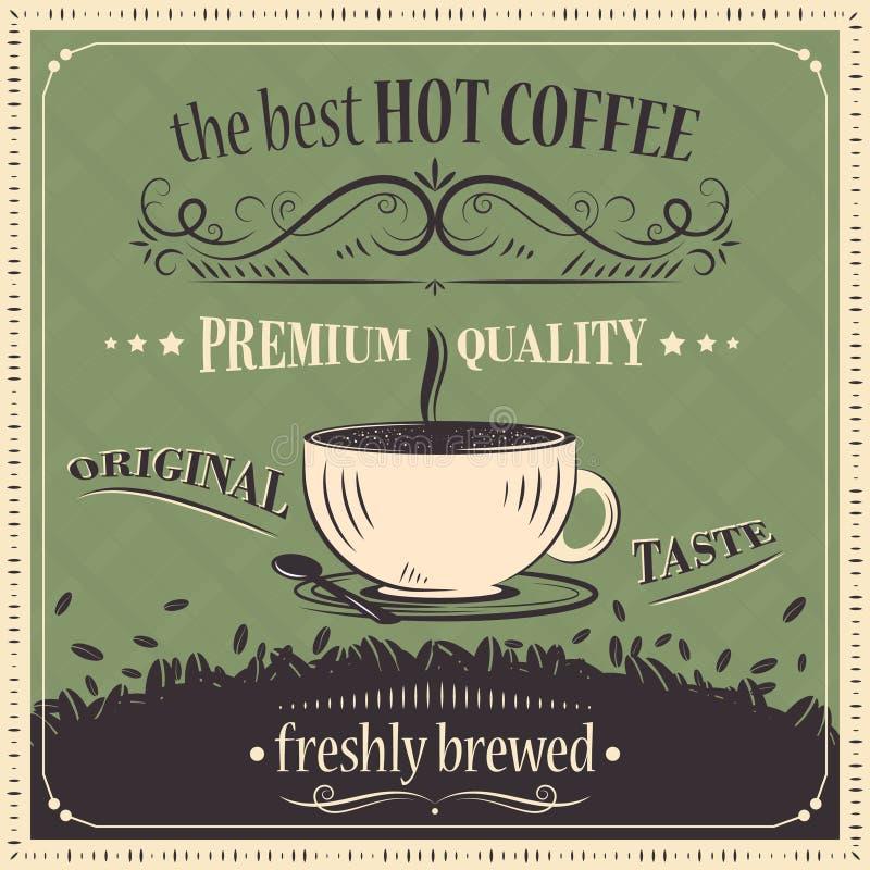 Best hot coffee vintage background. Premium quality. Original taste. Freshly brewed. Vector illustration stock illustration