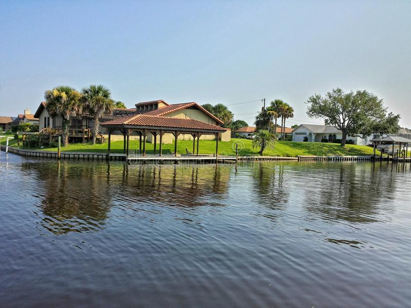 Best house waterway scene ever. I took this photo of this house by the waterway in Palm Coast Fl stock photo