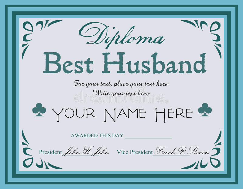 Best husband diploma. Blue diploma with the text best husband written in the middle of the diploma vector illustration