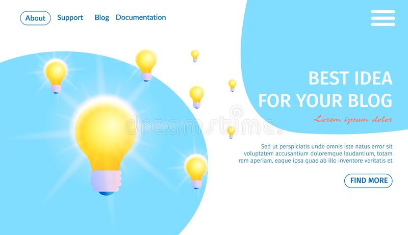 Best Idea for Your Blog Banner. Burn Light Bulbs. Best Idea for Your Blog Horizontal Banner with Copy Space. Electric Burning Lightbulbs on Blue and White Wavy royalty free illustration