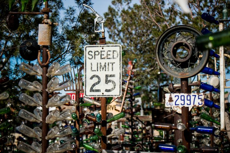 Best image with Elmer's Bottle Tree Ranch on Route 66. Elmer's Bottle Tree Ranch is literally a forest of bottle trees large metal pipes with royalty free stock photos