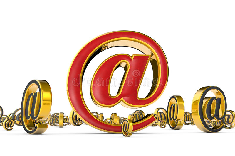 The best internet address (@). A single red & golden email symbol surrounded by many gray & gold e-mail symbols stock photo