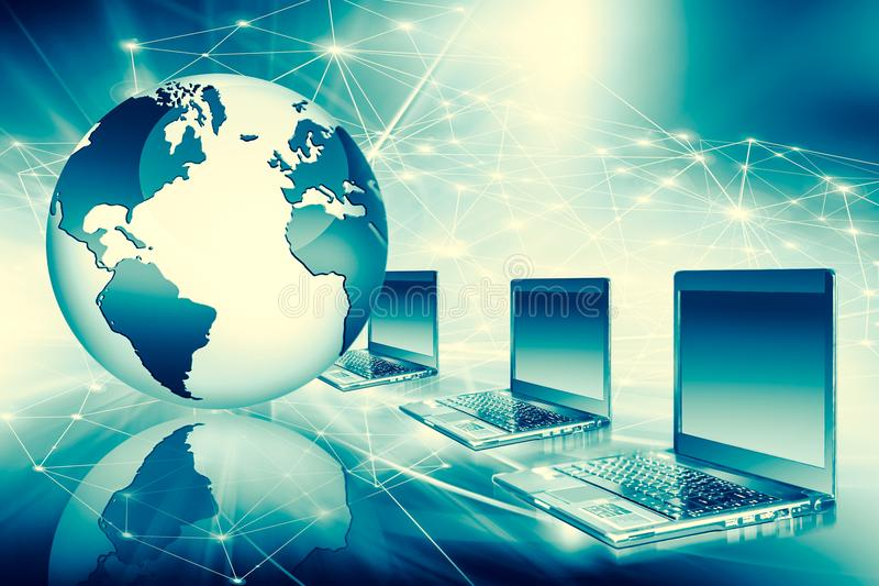 Best Internet Concept of global business from concepts series. Computer mobility, internet communication and cloud stock illustration