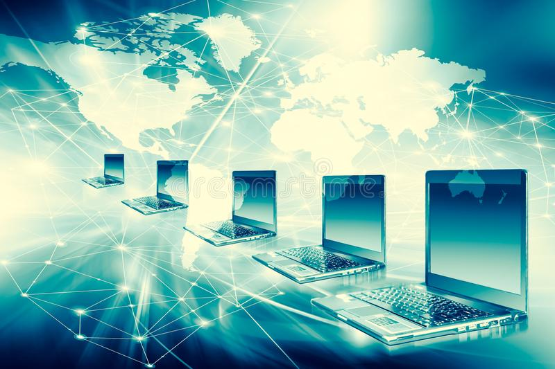 Best Internet Concept of global business from concepts series. Computer mobility, internet communication and cloud royalty free illustration