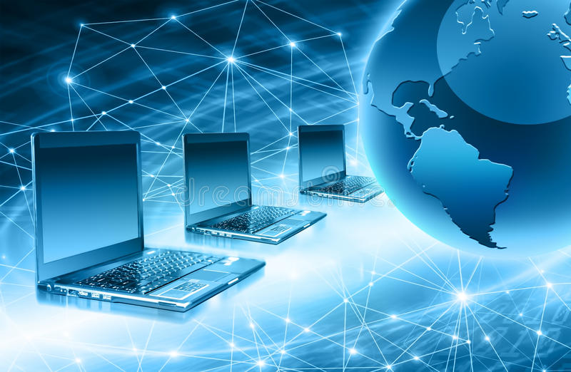 Best Internet Concept of global business from concepts series. Map and rays on a blue background, symbolizing the data line on the Internet. Internet concept royalty free illustration
