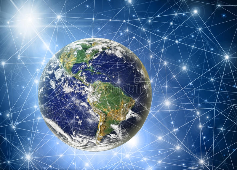 Best Internet Concept of global business from concepts series. Planet earth and rays on a blue background, symbolizing the data line on the Internet. Internet royalty free illustration