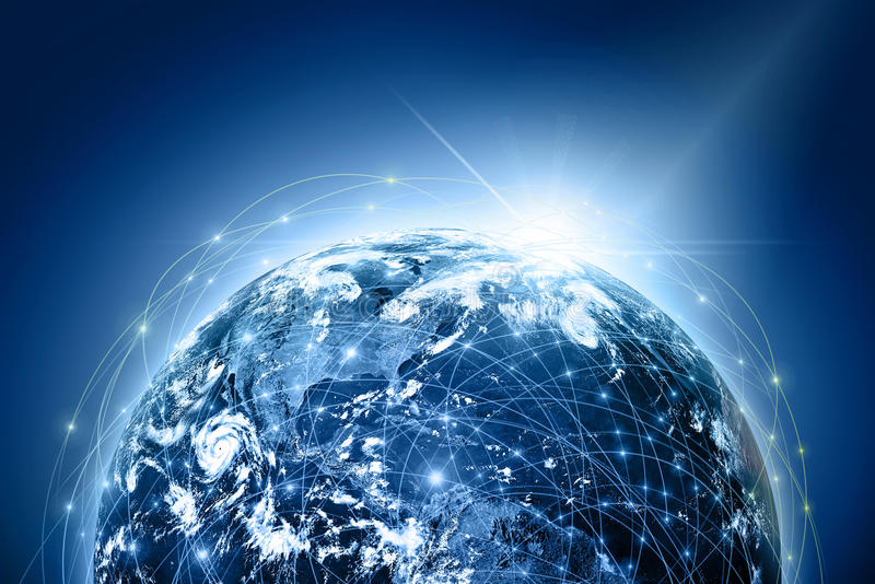 Best Internet Concept of global business from concepts series. Planet earth and rays on a blue background, symbolizing the data line on the Internet. Internet stock illustration