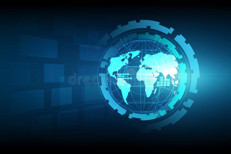 Best Internet Concept of global business. Globe, glowing lines o. N technological background. Electronics, Wi-Fi, rays, symbols Internet, television, mobile and vector illustration