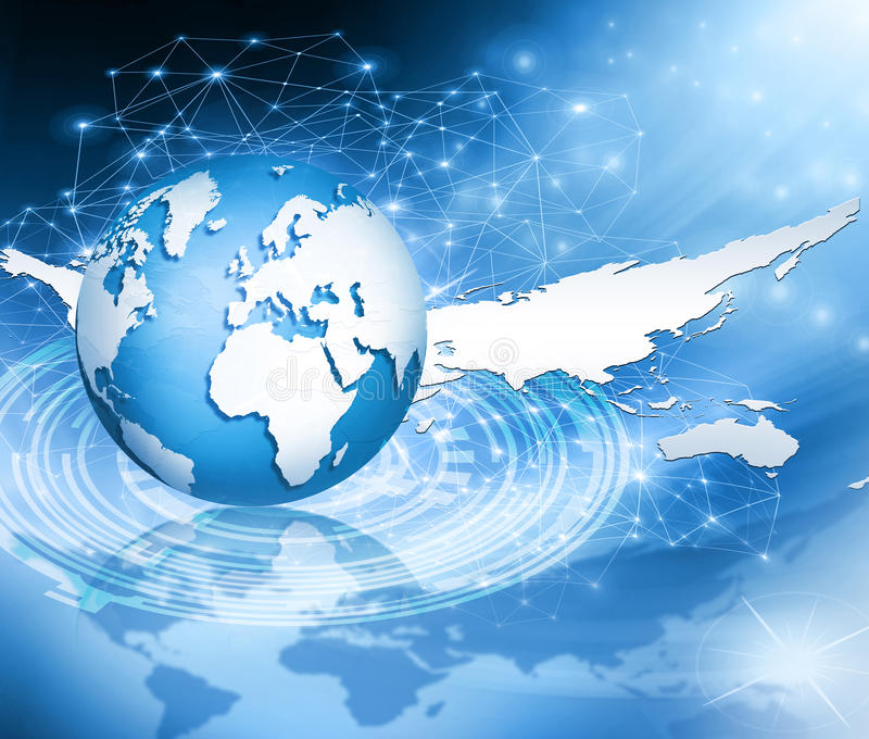 Best Internet Concept of global business. Globe. Best Internet Concept. Globe, glowing lines on technological background. Electronics, Wi-Fi, rays, symbols stock illustration
