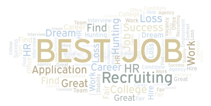 Best Job word cloud. Wordcloud made with text only stock illustration