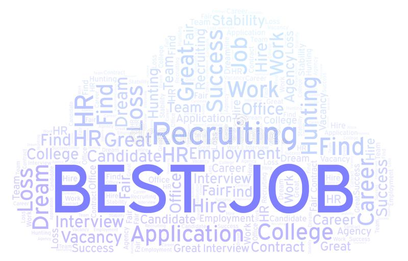 Best Job word cloud. Wordcloud made with text only vector illustration
