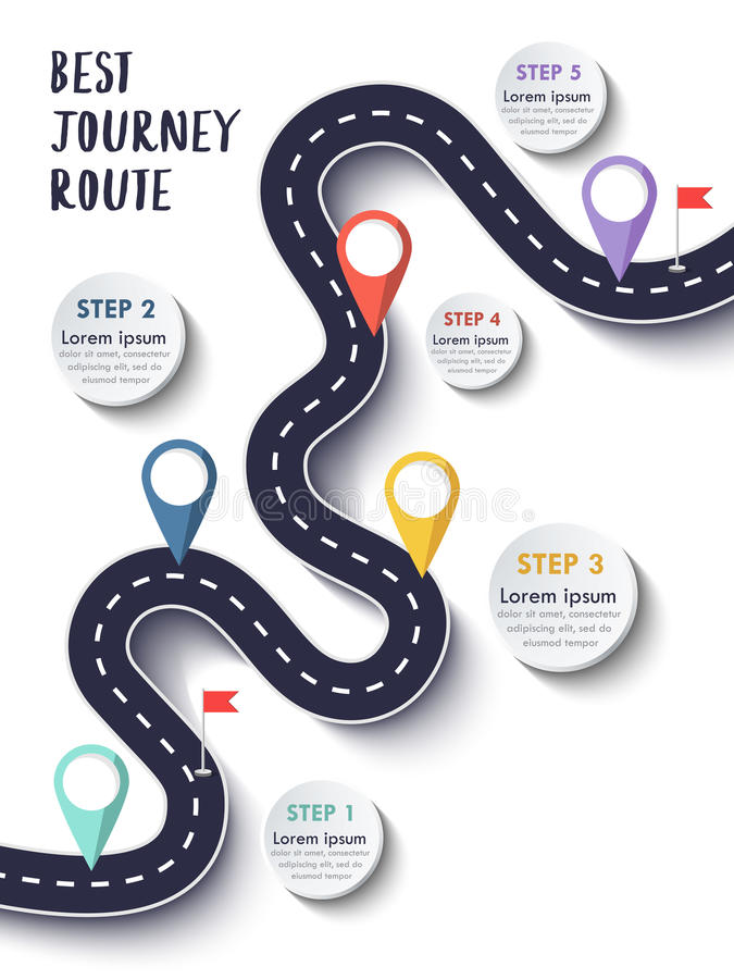 Best Journey Route. Road trip. Business and Journey Infographic Design Template with flags and place for your data. Winding road on a colorful background vector illustration