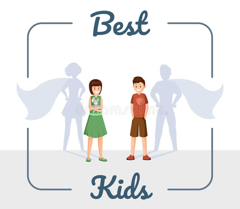 Best kids flat vector illustration. Excellent children, smiling son and daughter with superhero shadow cartoon royalty free illustration