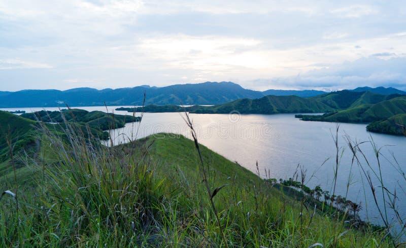 Best landscape. Expanse of mountains on the edge of the lake, the location of Sentani Jayapura Indonesia royalty free stock photos