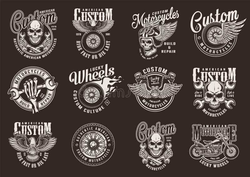 Best?llnings- motorcykelemblem f?r tappning royaltyfri illustrationer