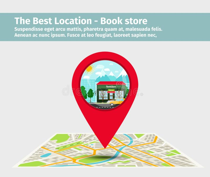 The best location book store vector illustration
