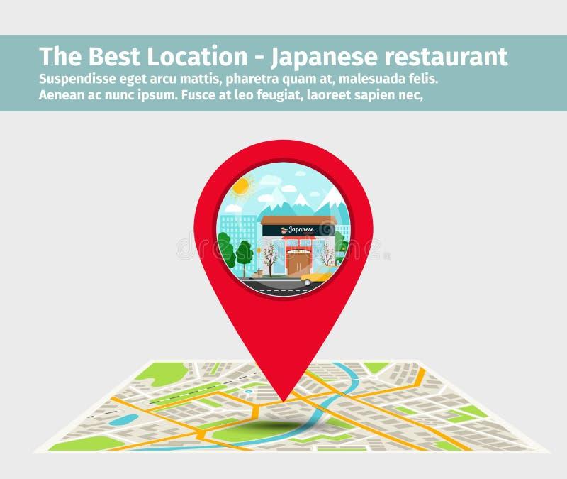 The best location japanese restaurant royalty free illustration