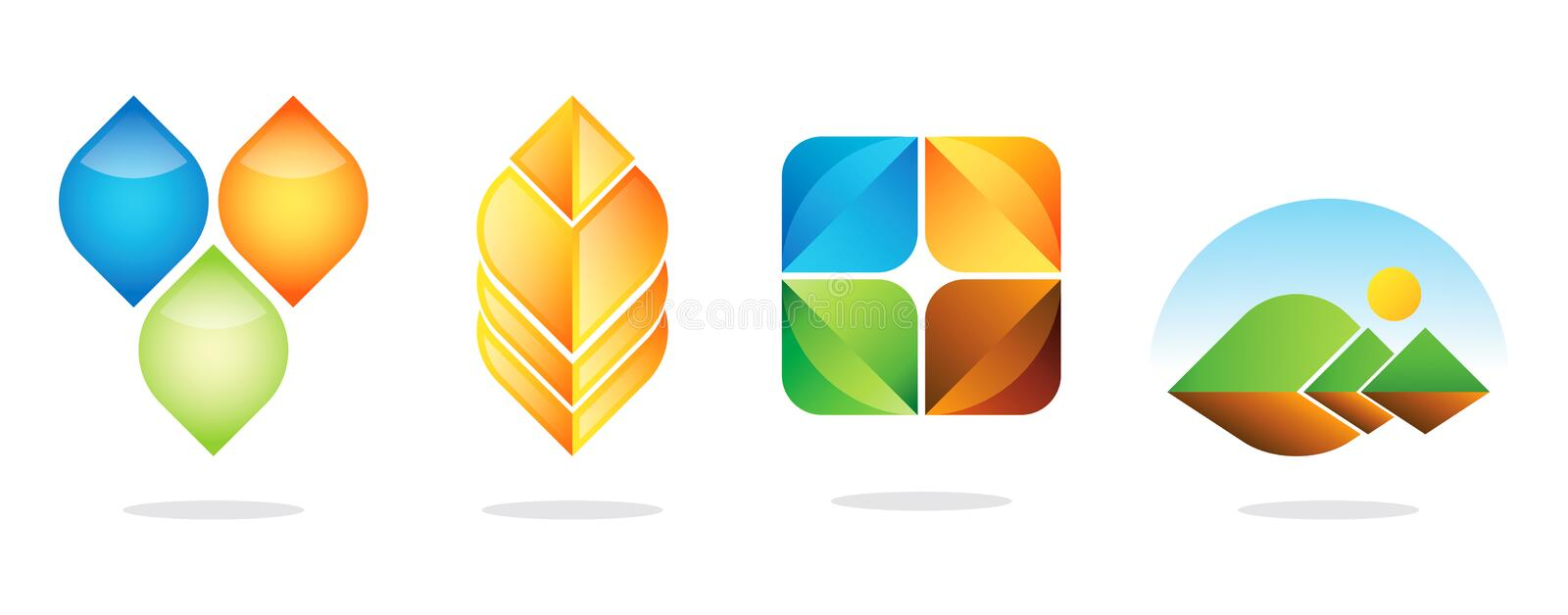 Best logo designs. A collection of four logo designs stock illustration