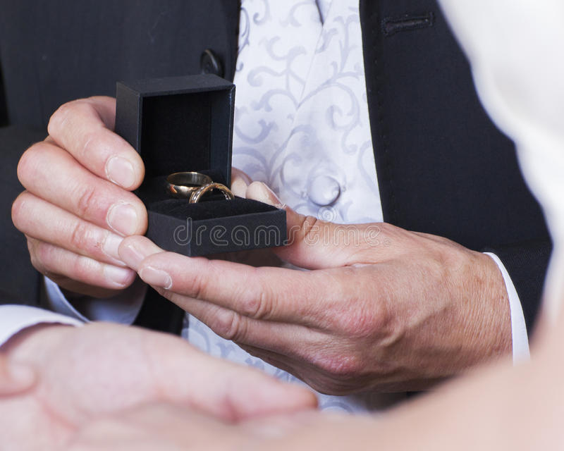 Best man presenting rings to bride and groom. Best man presenting gold wedding rings to bride and groom at the altar royalty free stock photo