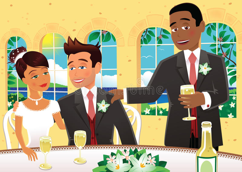 Best man wedding speech. An illustration of the best man at a wedding giving his speech to the happy couple. E.P.S. 10 vector file included with image, on white stock illustration