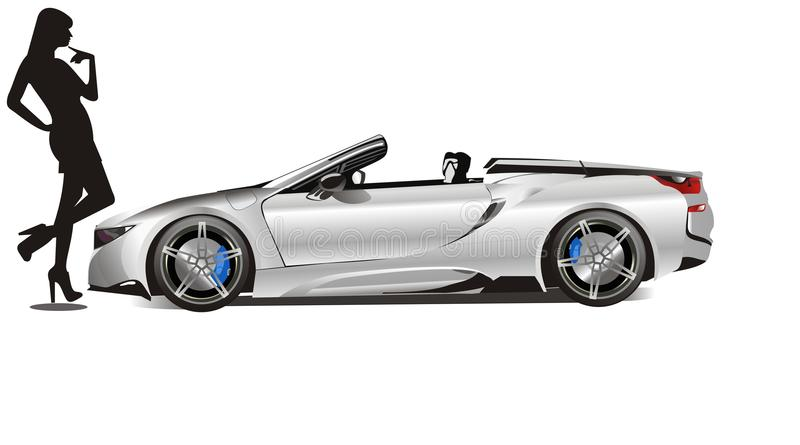 BMW I8 Convertible, The Best Men Sport Car 2018, The Balance Is Even A  Touch Off For A GT Car. Silver Color.