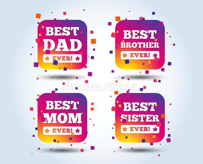 Best mom and dad, brother, sister icons. Best mom and dad, brother and sister icons. Award with exclamation symbols. Colour gradient square buttons. Flat design vector illustration