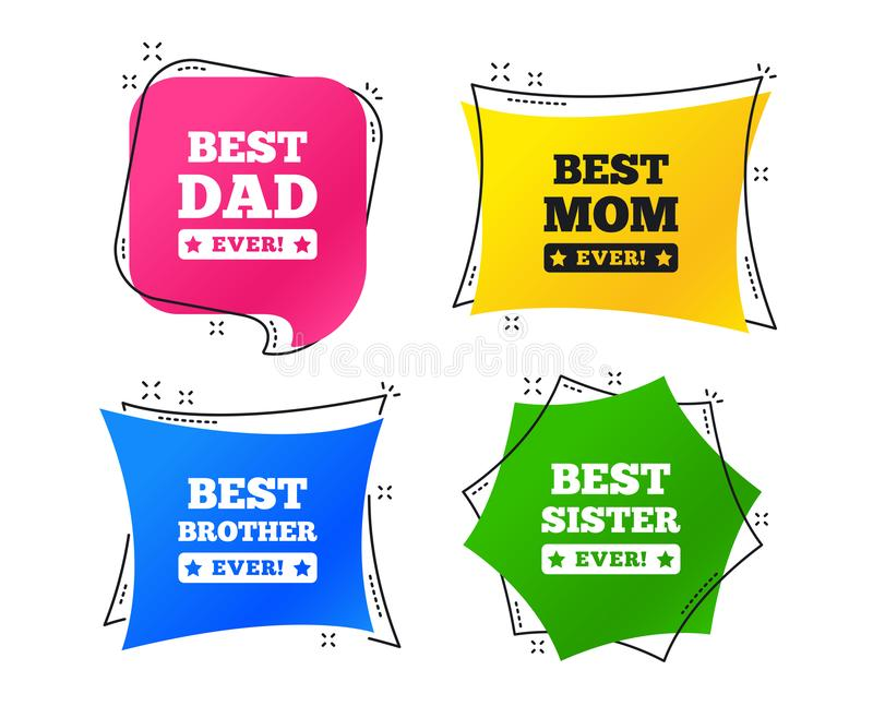 Best mom and dad, brother, sister icons. Vector. Best mom and dad, brother and sister icons. Award with exclamation symbols. Geometric colorful tags. Banners vector illustration
